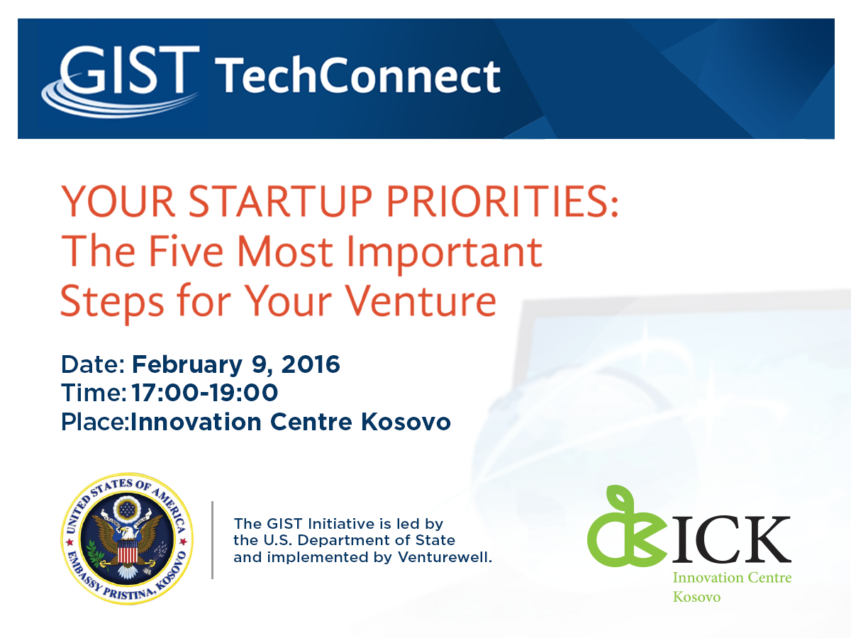 Gist TechConnects WebChat: The Five Most Important Steps for Your Venture