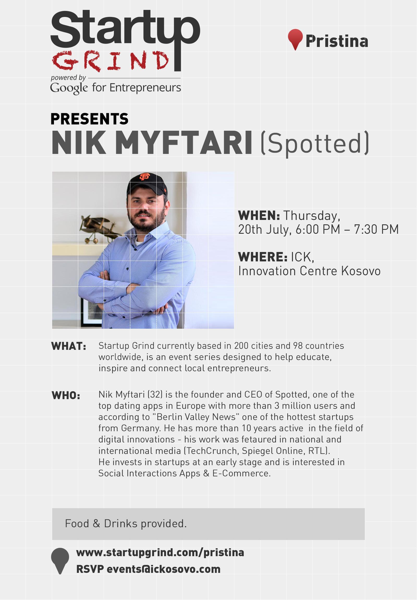 Startup Grind Prishtina Hosted Nik Myftari (Spotted)