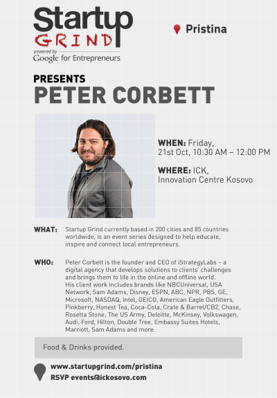 Startup Grind Pristina #13 hosts Peter Corbett (iStrategyLabs)