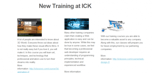Four trainings starting at ICK